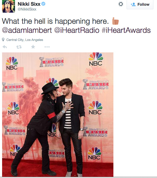 Nikki Sixx & Adam Lambert tweet